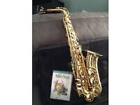 Alto Saxaphone- Beautifully engraved, gold-finish Saxaphone with case & DVD