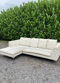 FREE DELIVERY 🚚 MODERN DWELL BEIGE FABRIC CORNER SOFA GOOD CONDITION
