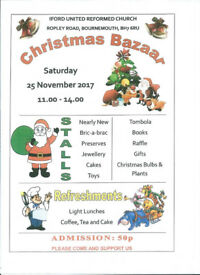 Christmas Bazaar Bournemouth Jewellery, Cakes, Toys, Tombola, Books, Raffle, Gifts and more!