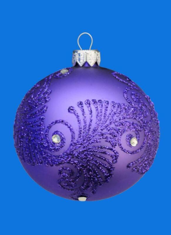 8cm FLORISSIMO PURPLE VIOLET BALL EUROPEAN BLOWN GLASS CHRISTMAS ORNAMENT 097