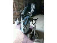 Golf set, with carry bag and trolley