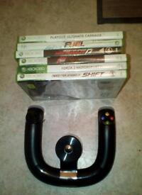 Xbox 360 steering wheel + games