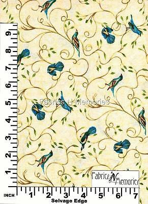 Birds Hydrangea Radiance Tan Fabric F1046 BY THE HALF YARD