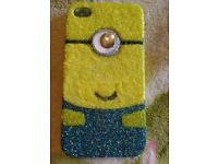 Iphone 4 4s Hand decorated minion phone case despicable me
