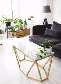 Coffee Table / Marble Loft Industrial Carrara Design Scandinavian Retro Gold Simply