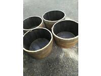 Recycled Scottish oak barrel planters