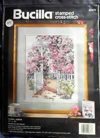 """Floral Arbor"" stamped cross stitch kit"