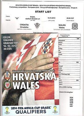 CROATIA v WALES 2012  Prog & T/Sheet
