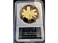 2011 BRITANNIA .95.8% PURE SILVER & 24 CARATS GOLD PLATED TWO POUND COIN - LOW LIMITED EDITION 200