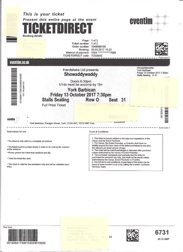 SHOWADDYWADDY TICKETS FOR FRIDAY 13 OCTOBER 2017 AT YORK BARBICAN