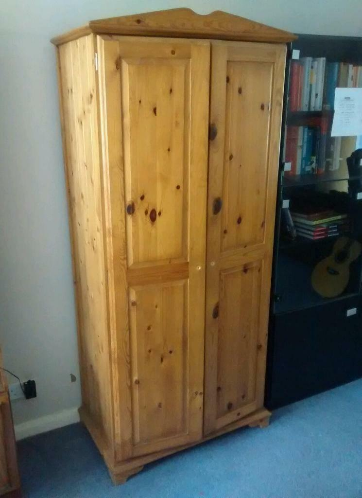 solid pine wardrobe with internal shelves shabby chic. Black Bedroom Furniture Sets. Home Design Ideas