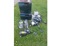 3 x Shimano xtb 5500 carp reels with 4 spare spools and boxes, etc