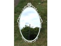 VINTAGE SHABBY CHIC FRENCH COUNTRY STYLE WHITE/GOLD PAINTED FRAME OVAL MIRROR 66cms x 39cms