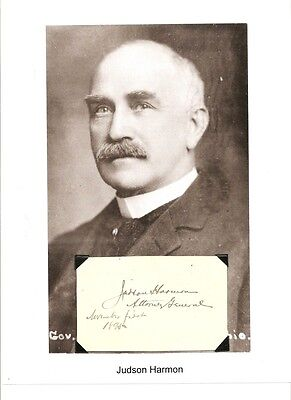 Judson Harmon Autograph Attorney General Governor Ohio Presidential Candidate
