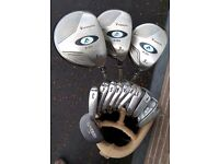 Full set ladies Dunlop Ag golf clubs. SW - 3 iron, Driver, 3W & 5W + putter. Bag and size 5 shoes.