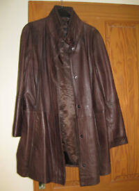 Ladies Brown Leather Coat size 16