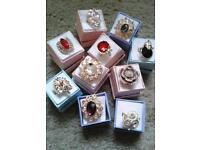 Joblot, gold, and silver plated bling boxed rings