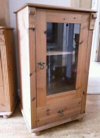 Antique pine stereo hifi glass fronted drinks cabinet