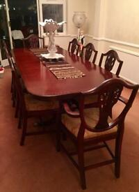 Beautiful Large Family 8 seater Antique Style Mahogany Table and Chairs