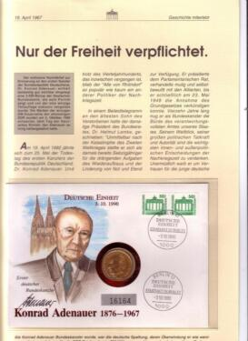 Numisbrief Konrad Adenauer 1876 1967 Geschichte Miterlebt In