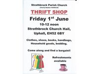 Thrift Shop - Friday 1st June 10am to 12noon, Strathbrock Church Hall, Uphall, EH52 6BY