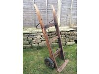 Sack barrow Antique Trolley Cart Wood Wooden Garden Decoration