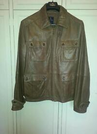 Mens brown leather jacket