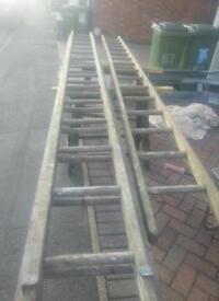 Vintage old wooden ladders