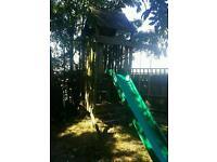 Play house slide climbing wall fireman's pole