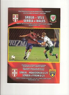 SERBIA v WALES  11/09/12 WORLD CUP QUALIFYING MATCH