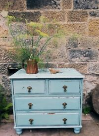 Vintage chest of drawers painted in a custom mix of miss mustard seed milk paint