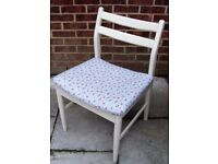 Great Schreiber Dining Chair painted in Antique White or Flint Grey and reupholstered in fabric
