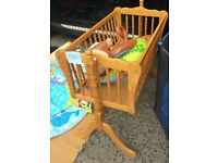 Babys wood cot frame without mattress (only one owner .) selling @ £21. Available & open to offer