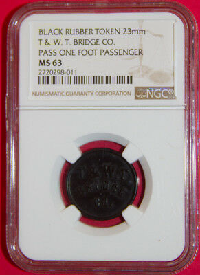 Vulcanite Rubber 23mm West Troy Bridge Pass One Foot Passenger NGC MS 63