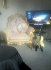 Beautiful gold and cream French rococo style arm chairs