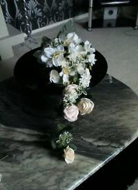 Two Silk Wedding flowers,candy cart,
