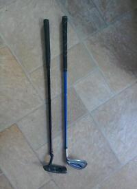 Children's golf clubs x2