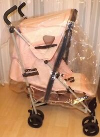 universal rain cover ,NEW ,with zip for access to baby and has mesh air vents ,