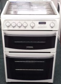 Cannon 60cm double oven and grill gas cooker in white