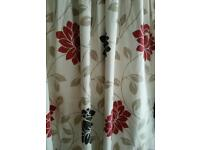 3 PAIRS FLORAL LINED CURTAINS