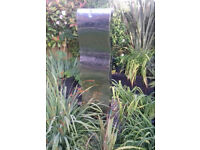 Stainless steel 5 foot tall waterfall garden feature, with pump, 30 foot of cable.