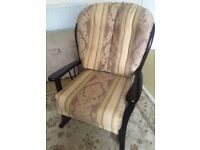 Two seater sofa and matching upholstered rocking chair