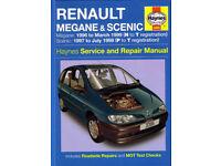HAYNES RENAULT MEGANE & SCENIC WORKSHOP MANUAL 1.4 1.6 2.0 Petrol, 1.9 Diesel '96 to 1999