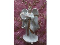 """*Porcelain Christmas Angel Ornament with Harp Large Figurine: """"Traditions"""" White & Gold: Decorations"""