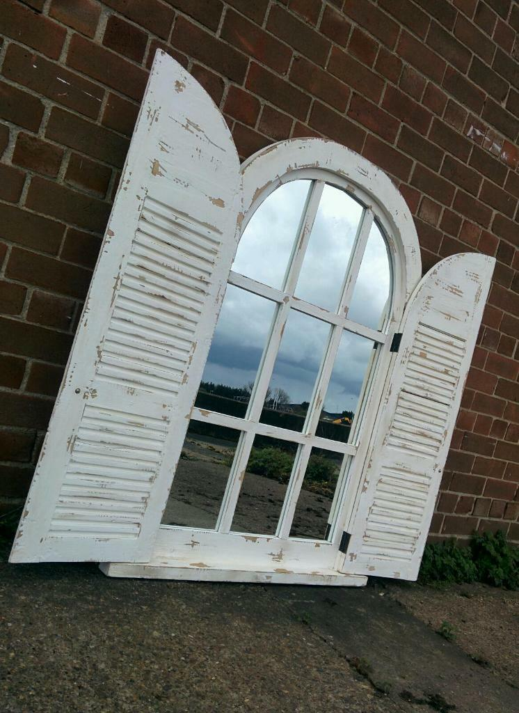 Huge Shutter Arch Window Style Mirror In Distress White Shabby Chic