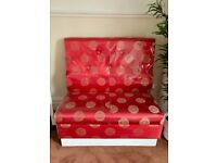 Oriental Chinese Red Gold SILK Covered High Back Bench Seat Sofa Chair