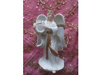 VINTAGE TRADITIONS CHRISTMAS ANGEL ORNAMENT HARP Large Porcelain Figurine White & Gold Decorations
