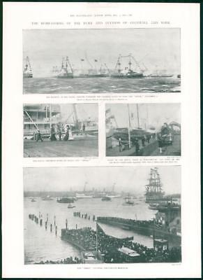 1901 Antique Print - ROYALTY Duke Duchess Cornwall York Home Coming Yacht  (464)
