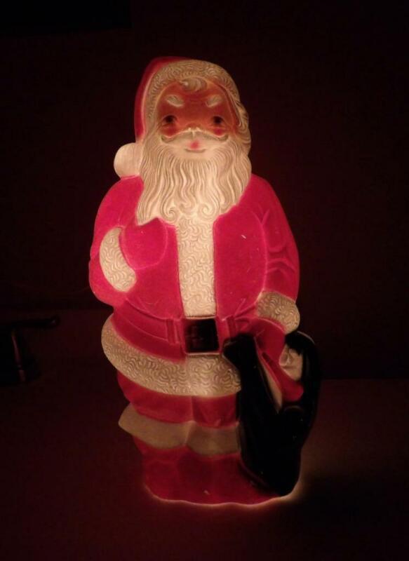 "Vintage 1968 Blow Mold Santa ~ Empire Plastics Corp. 13"" ~ Works Great"