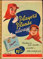 Large 1950 full-page color ad for Player's tobacco